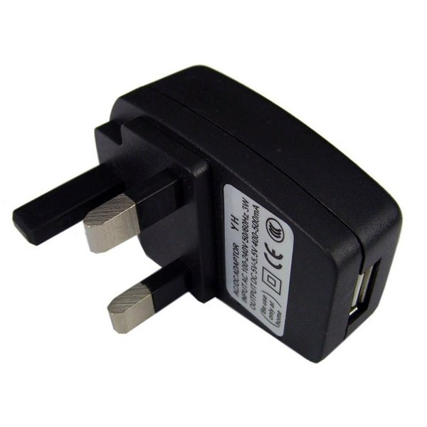 USB 3 Pin UK Mains Plug Charger 500MaH