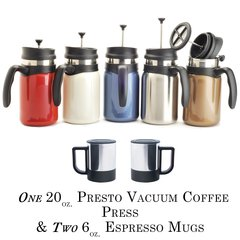 Presto Vacuum Coffee Press 20oz. & 2 Espresso Mugs