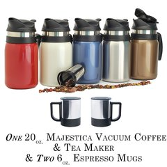 Majestica Coffee & Tea Maker 20oz. & 2 Espresso Mugs 6oz.