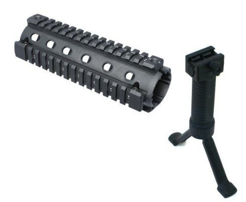 2-Piece AR15 AR-15 M4 Carbine Rifle Quad 4-Weaver/Picatinny Rail Aluminum Handguard + Tactical Stealth Black Bipod Foregrip Inserted Leg Mil Spec Polymer Grip