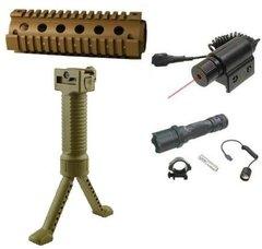 4/15 .223 5.56 556 Desert Tan Carbine Rifle 2-Piece Weaver/Picatinny Aluminum Handguard + Tan Bipod Polymer Grip + Flashlight Light + Red Dot Laser Sight - 4pc Combo Combination Package Kit Set
