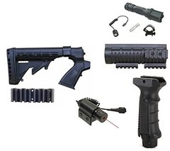 Ultimate Arms Gear Mossberg 500 535 590 835 12 GA. Stock, Black Kit with Light & Laser