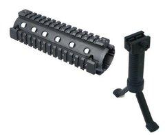 2-Piece AR15 AR-15 M4 Carbine Rifle Quad 4-Weaver/Picatinny Rail Aluminum Handguard + Tactical Stealth Black Bipod Foregrip Inserted Leg Mil Spec Polymer Grip