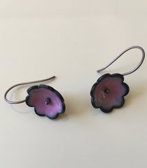 Enamel Flower Pink and Blue on Silver
