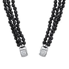 Circle of Love Collection-Triple Onyx bead chain