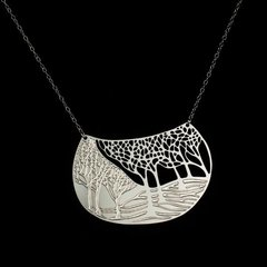 """""""Winter"""" - Silver Plated Stainless Steel Pendant"""