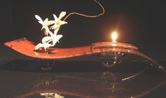 """Fused Glass with Copper Oil Lamp-""""Sedona"""""""