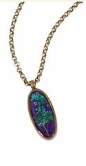 Blue Queen Anne Lace on Purple Enamel Oval Necklace