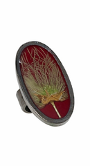 Apache Plume Oval Ring on Rhubarb Enamel
