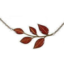 Yellow Wintersweet Five Petals on Red Enamel Necklace