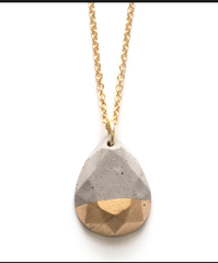 Gilded Concrete Pear Shaped Necklace