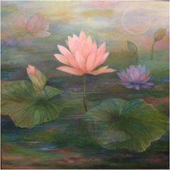 Pink Lotus Painting by Amira Dvorah