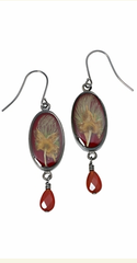 Apache Plume Teardrop Earrings on Rhubarb Enamel