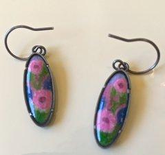 Enamel Oval Earring with Flowers on Silver