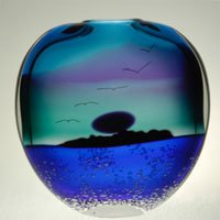 "Blown Glass Blue ""Ocean"" Vase"