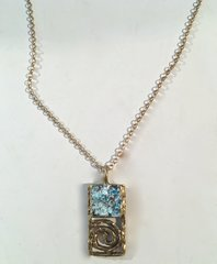 Ancient Roman Glass Rectangular Swirl Necklace in Brass