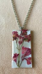 Coral Bell Rectangular Necklace on Natural Shell