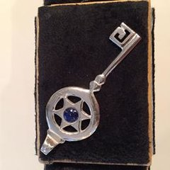Silver Key with Lapis Pendant