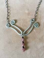"""Dragonfly"" Necklace with Pink and Black Beads"
