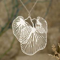 "Silver Plated Stainless Steel Necklace in the ""Alluvia"" Design"