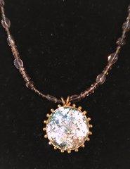 Round Roman Glass Pendant on Smokey Quartz Chain
