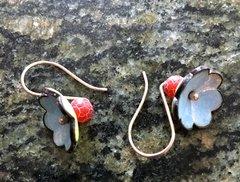 Enameled Flower Earrings-Light Blue and Yellow