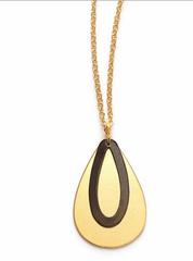 Brass and Oxidized Brass-Teardrop Necklace