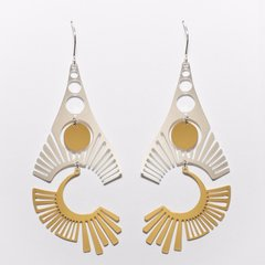 """""""Radiate""""-Mixed Gold and Silver Plated Earrings"""
