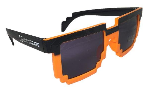 8 Bit Retro Gamer Orange Black Sunglasses Loot Crate