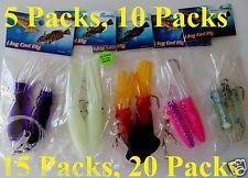 """5 Packs 4.5"""" Ling Cod Squid Rig Two Bulb Rigged"""