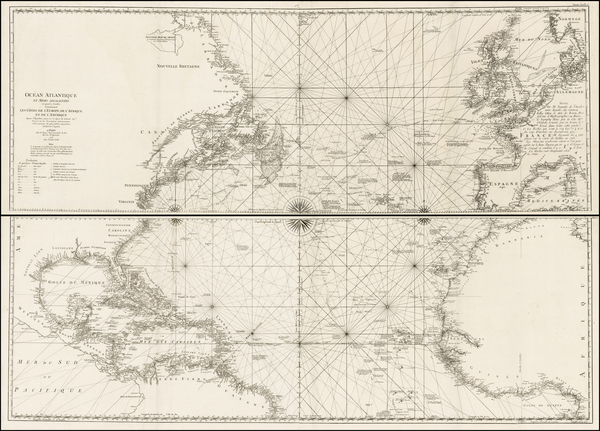 Ocean Atlantique et Mers Adjacentes en quatre feuilles Contenant Les Cotes de L'Europe, de L'Afrique et de L'Amerique