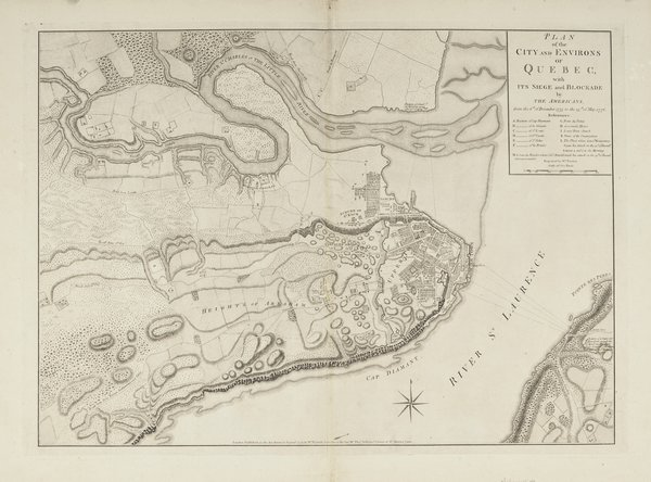 Plan of the City and Environs of Quebec with its Siege and Blockade by the Americans from the 8th of December 1775 to the 13th of May 1776.