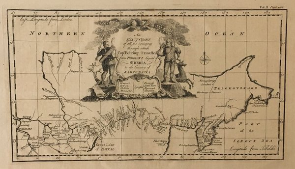 An Exact Chart of all the Countries through which Capt. Behring Travelled from Tobolski Capital of Siberia to the Country of Kamtschtka.