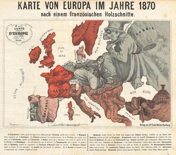 Karte von Europa Im Jahre 1870 nach einem französischen Holzschnitte.