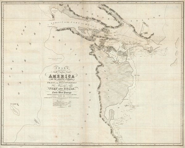 Chart of a Part of the North Eastern Coast of America and its adjacent Islands shewing the Track and Discoveries of His Majesty's Ships Fury and Hecla in Search of a North West Passage.