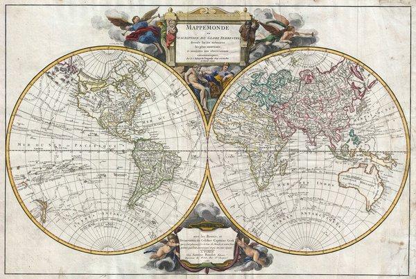Mappemonde ou description du globe terrestre dressée sure les mémoires les plus nouveaux, et assujettie et aux observations astronomiques...