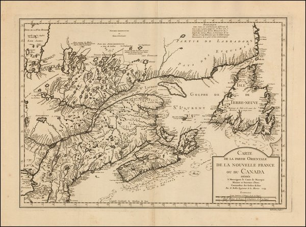 Carte de la Partie Orientale de la Nouvelle France ou du Canada...
