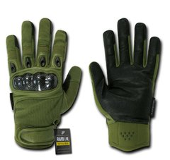 Carbon Fiber Knuckle Tactical Glove, OD Green, Small