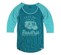Lets Go On A Roadtrip, Teal, Raglan 3/4 Sleeve Rockstarlette Outdoors T Shirt