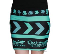 Rockstarlette Outdoors Logo Teal and Black Mini Skirt, Stretch Fabric, NEW!