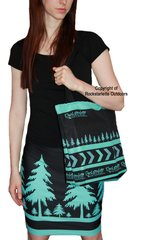 Outdoors Girl Teal and Black Pencil Skirt, Stretch Fabric, NEW!
