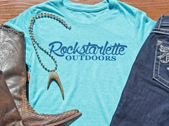 Heathered Teal Rockstarlette Outdoors Logo Fitted Crewneck T Shirt
