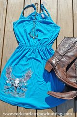 Sun Dress, SALE 50% OFF Rockstarlette Bowhunting, Turquoise