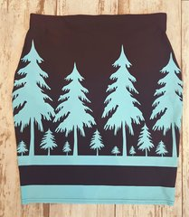 Teal and Black Tree Pencil Skirt, Stretch Fabric, NEW!