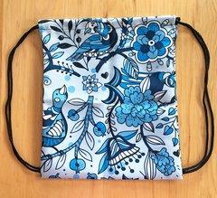 Tote Bag: Cheerful Birds in Blue, Drawstring Bag
