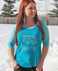 Lets Go On A Roadtrip, Teal, Raglan 3/4 Sleeve Rockstarlette Outdoors T Shirt