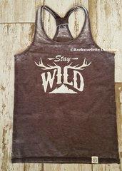 Stay Wild Sporty Racerback Tank, Driftwood, Rockstarlette Outdoors