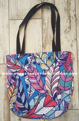 Tote Bag: Bright Feather Pattern, Made in the USA