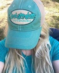 Teal Rockstarlette Outdoors Logo Mesh Back Hat, NEW!