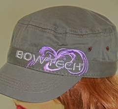 Ladies Military Style Bowtech Archery  Logo Hat, Olive w/ Purple Logo